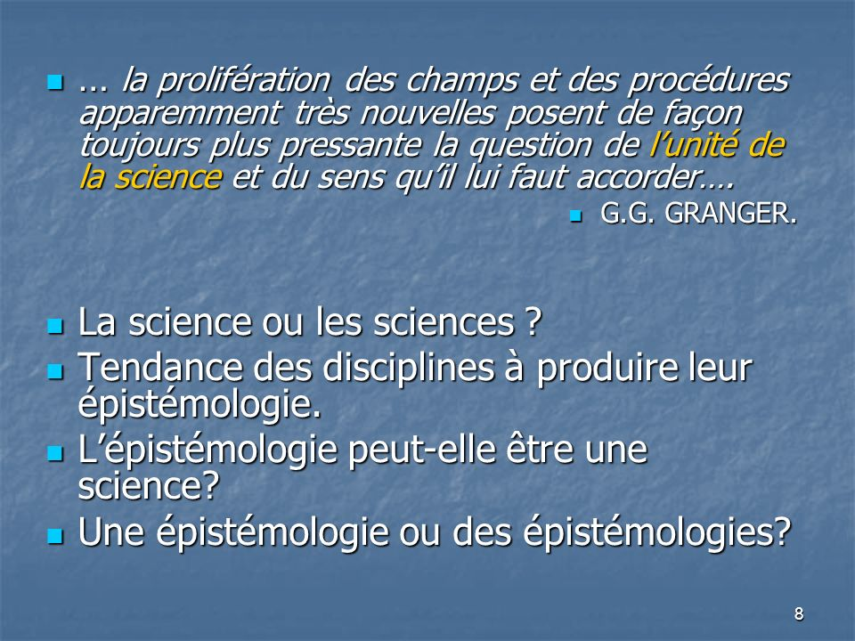 La science ou les sciences