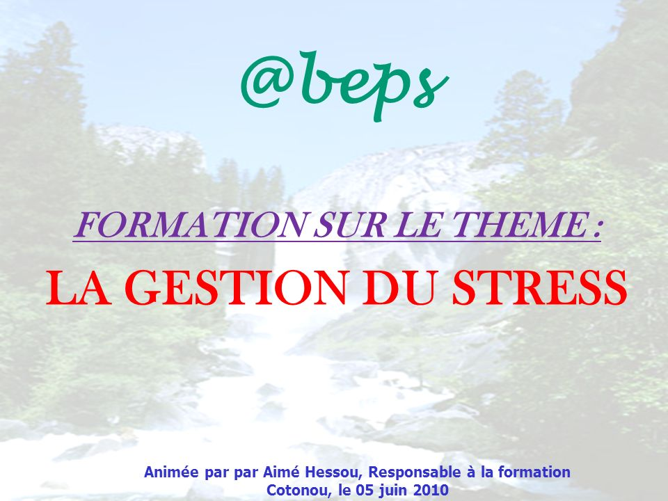 @beps LA GESTION DU STRESS FORMATION SUR LE THEME :
