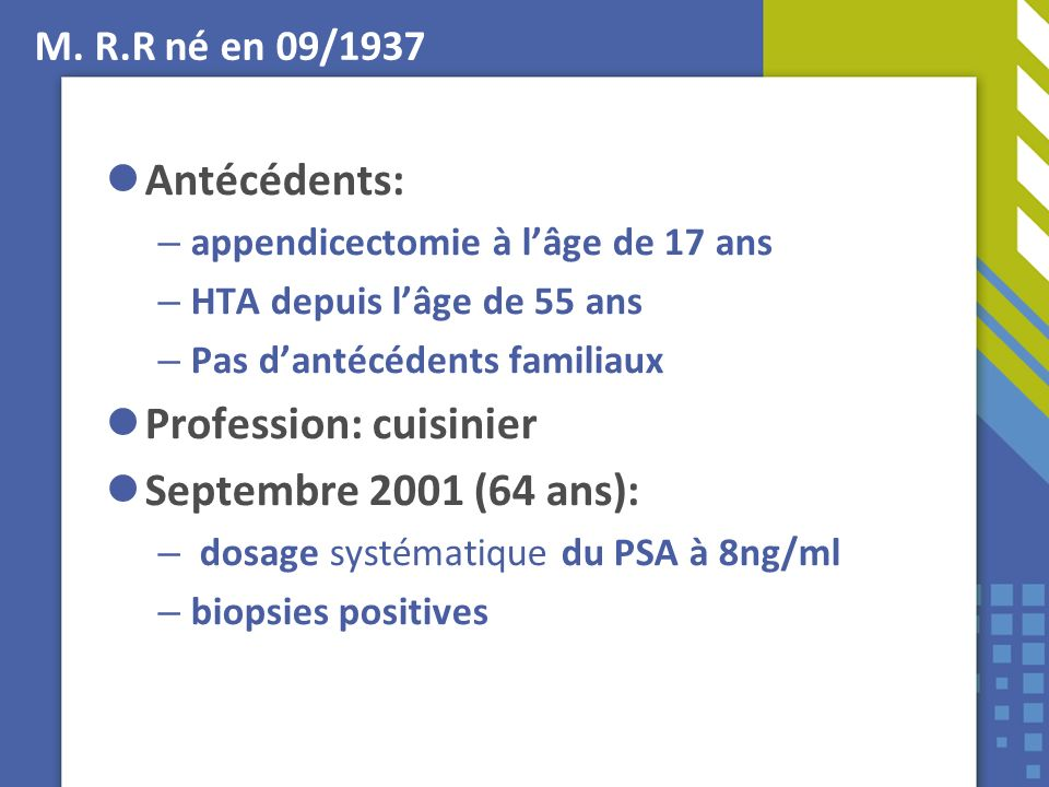 Profession: cuisinier Septembre 2001 (64 ans):