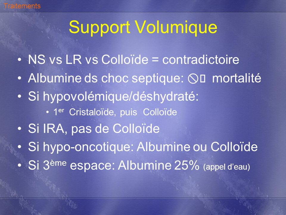 Support Volumique NS vs LR vs Colloïde = contradictoire