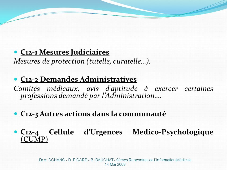 C12-1 Mesures Judiciaires Mesures de protection (tutelle, curatelle…).
