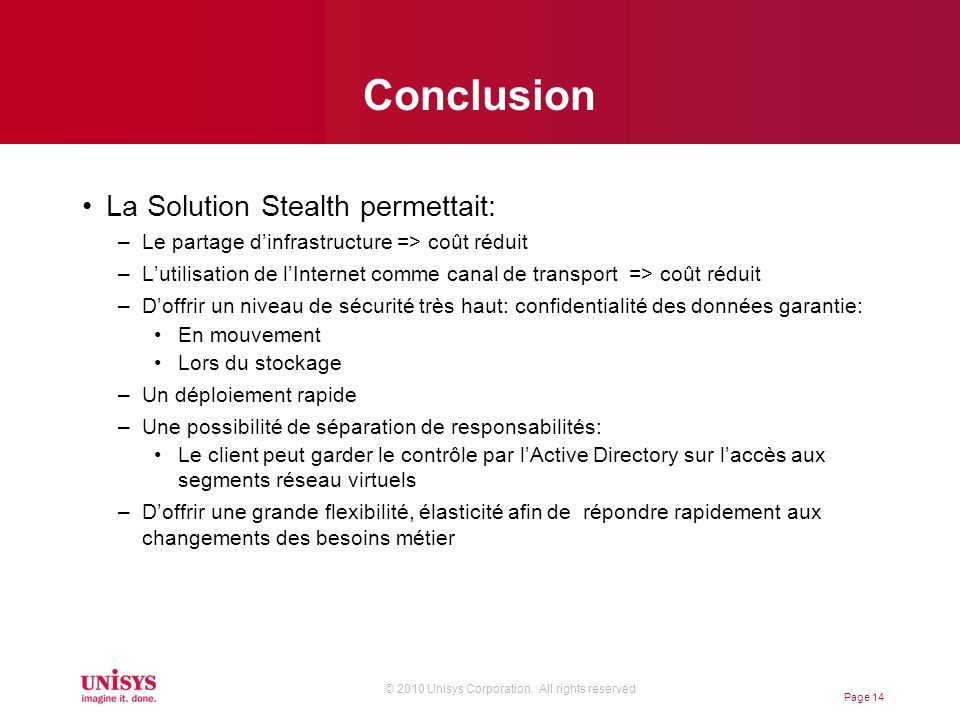 Conclusion La Solution Stealth permettait: