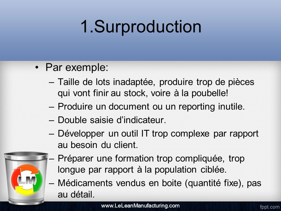1.Surproduction Par exemple: