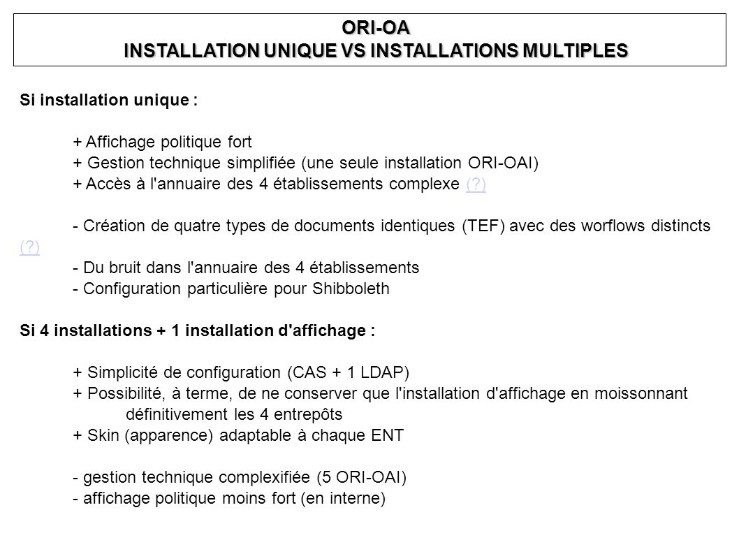 INSTALLATION UNIQUE VS INSTALLATIONS MULTIPLES