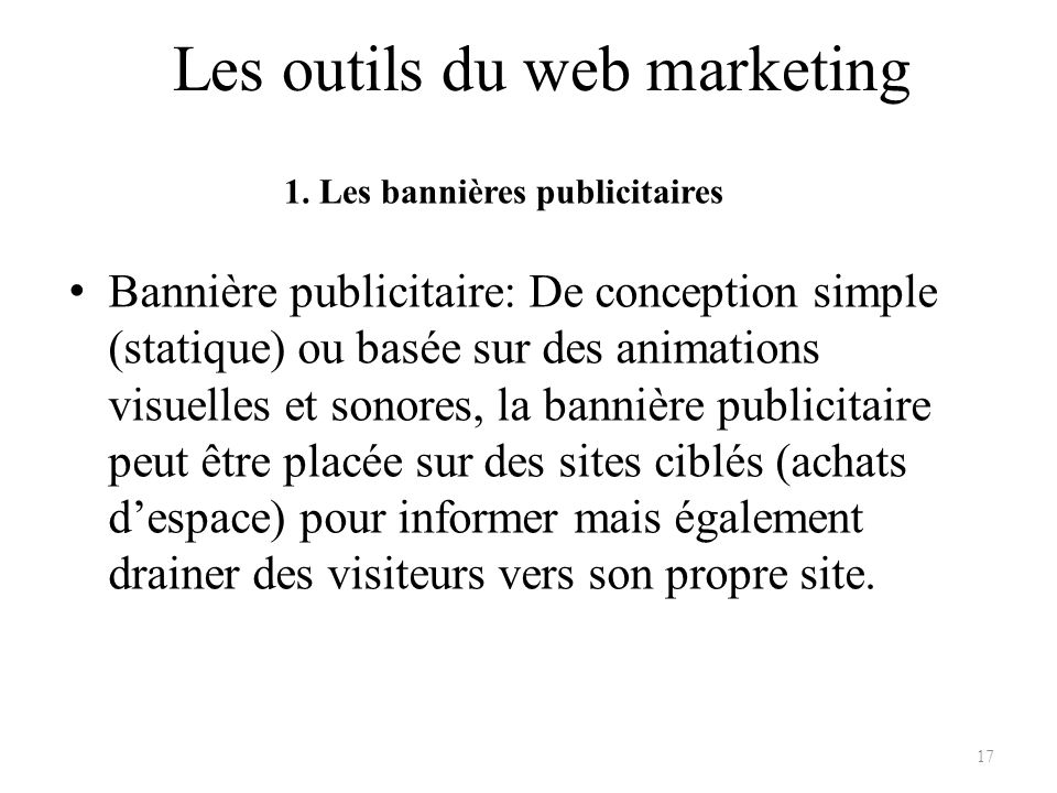 Les outils du web marketing