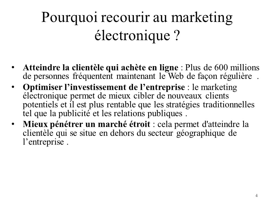 Pourquoi recourir au marketing électronique
