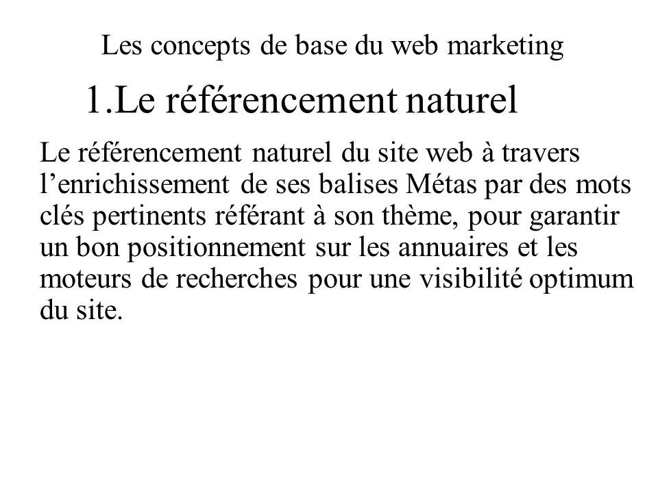 Les concepts de base du web marketing