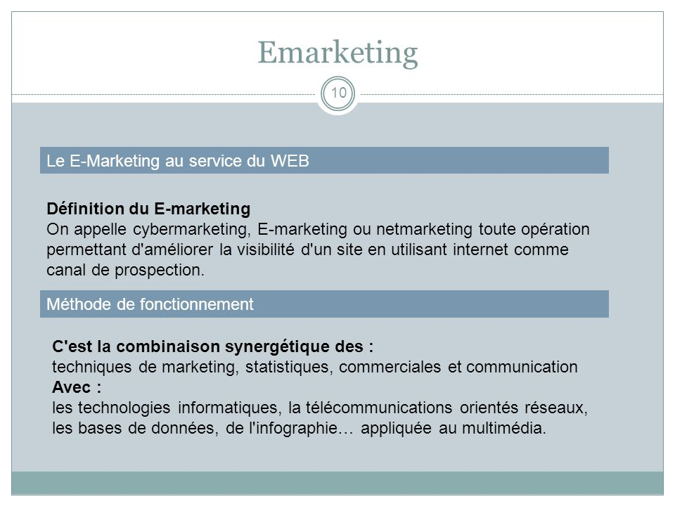 Emarketing Le E-Marketing au service du WEB Définition du E-marketing