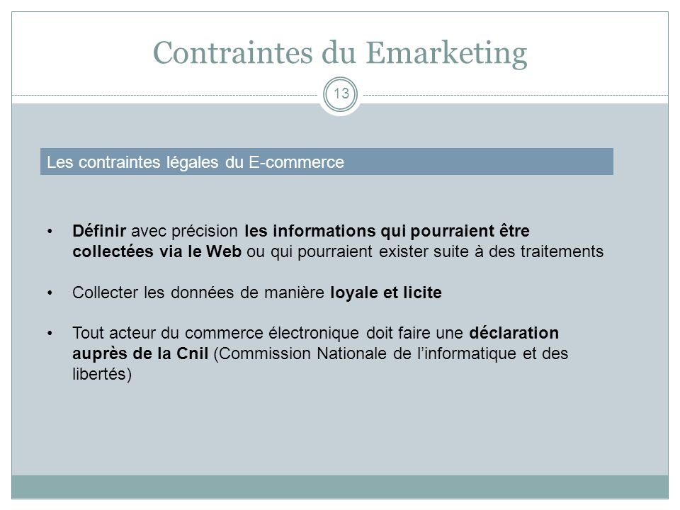 Contraintes du Emarketing