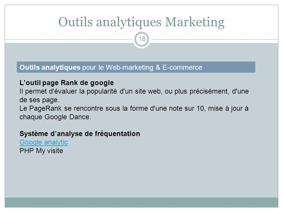 Outils analytiques Marketing