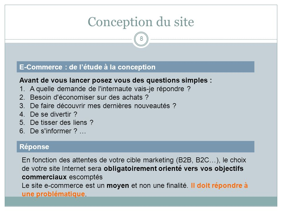Conception du site E-Commerce : de l'étude à la conception