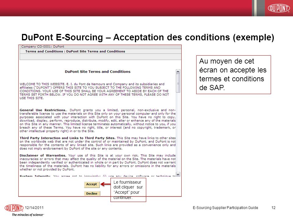 DuPont E-Sourcing – Acceptation des conditions (exemple)