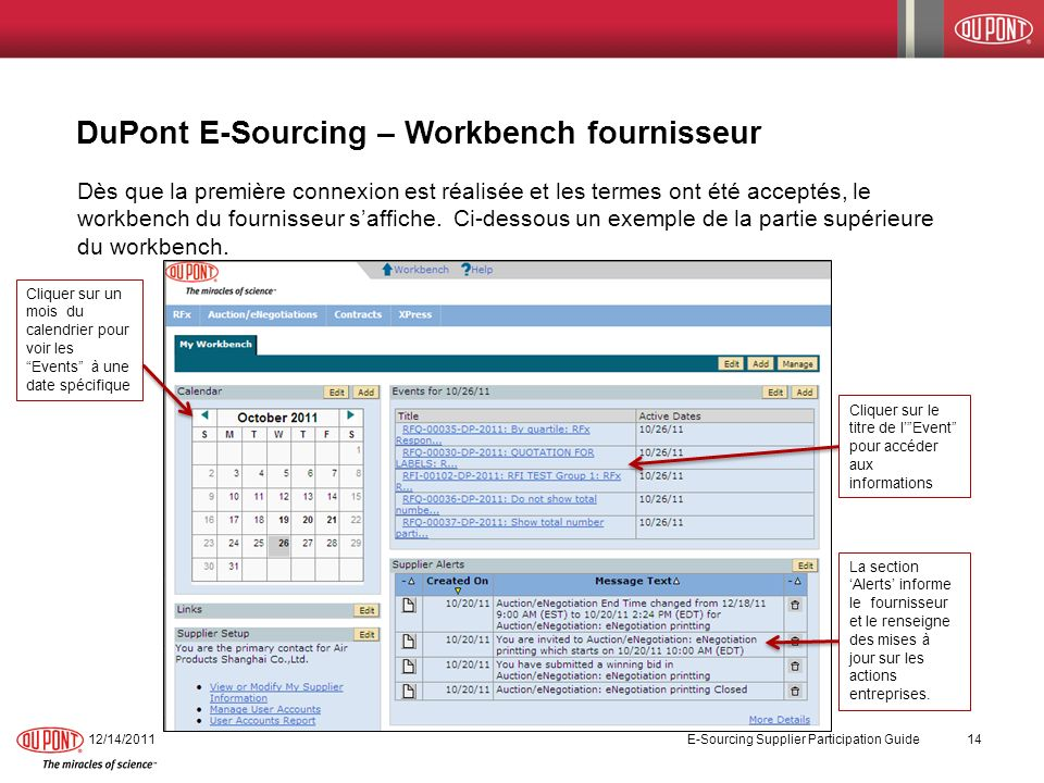 DuPont E-Sourcing – Workbench fournisseur