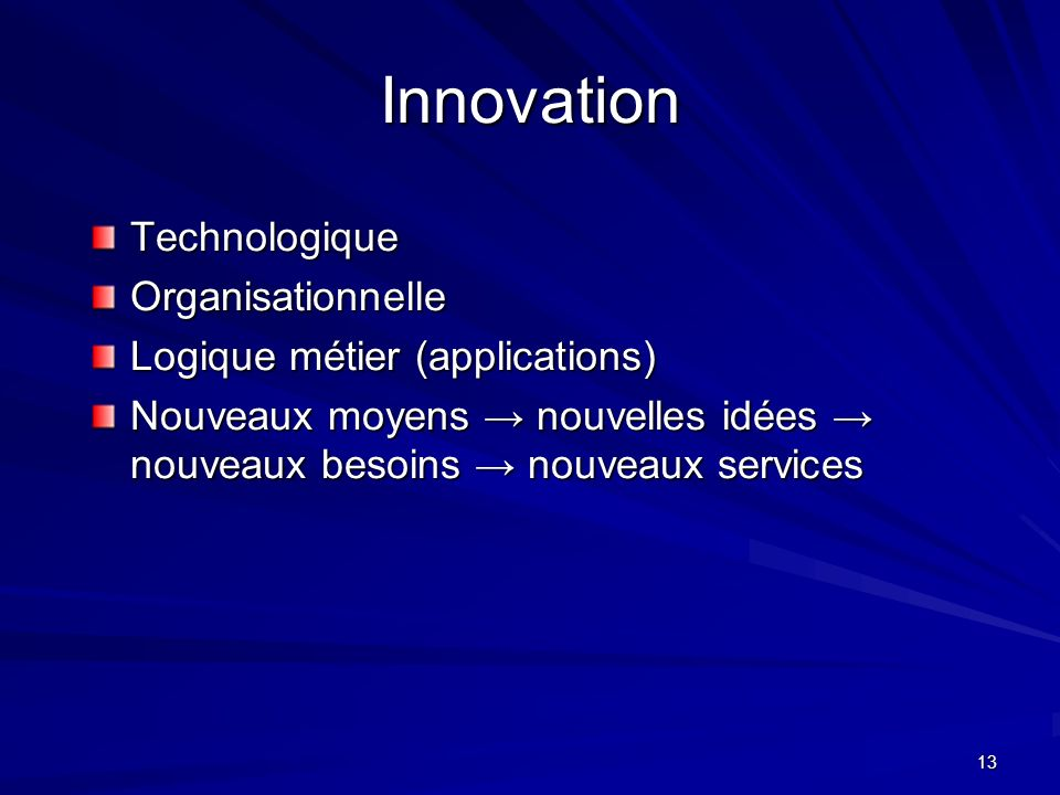 Innovation Technologique Organisationnelle