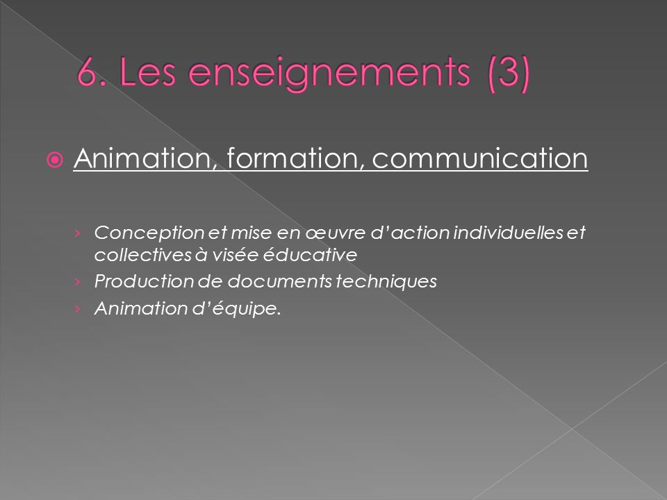6. Les enseignements (3) Animation, formation, communication