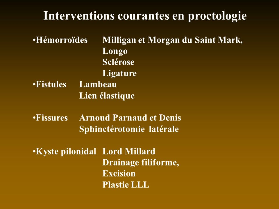Interventions courantes en proctologie