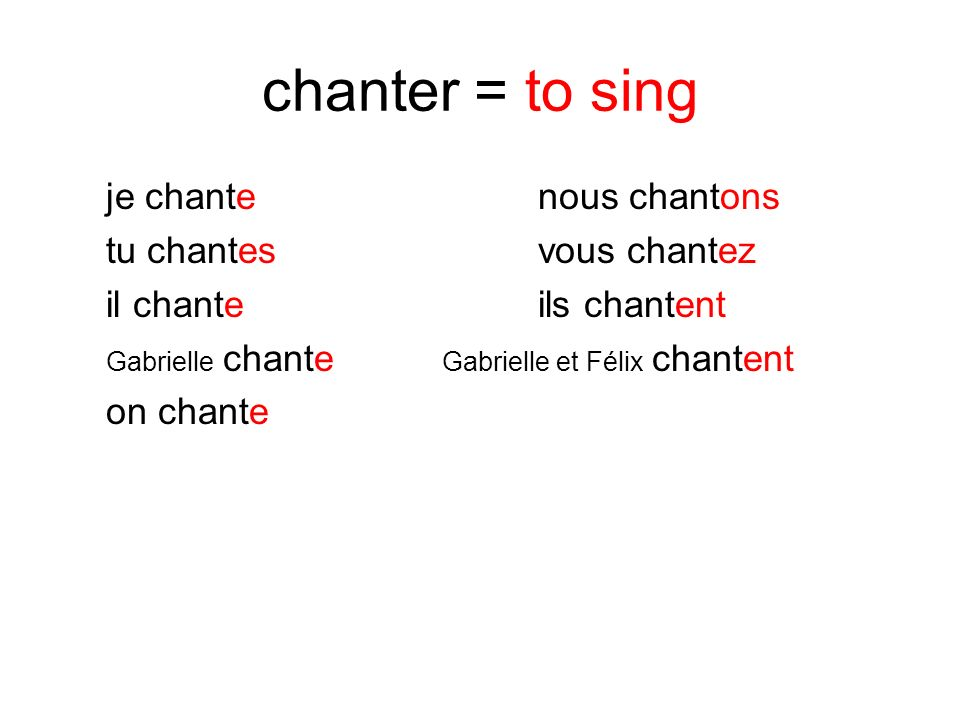 chanter = to sing je chante nous chantons tu chantes vous chantez