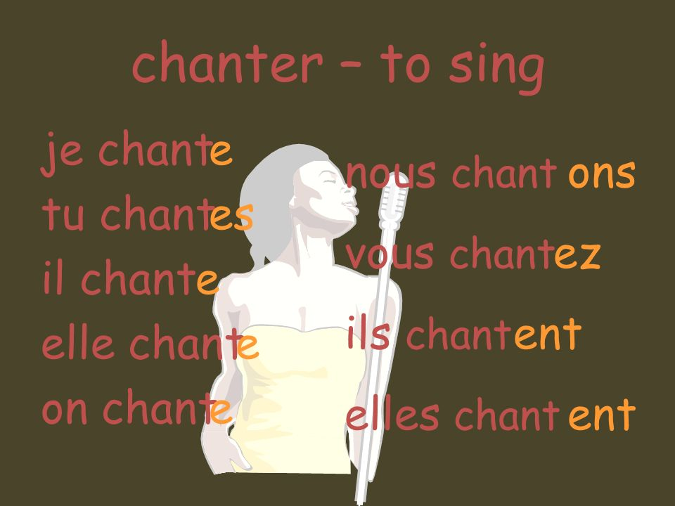 chanter – to sing je chant tu chant il chant elle chant on chant e es