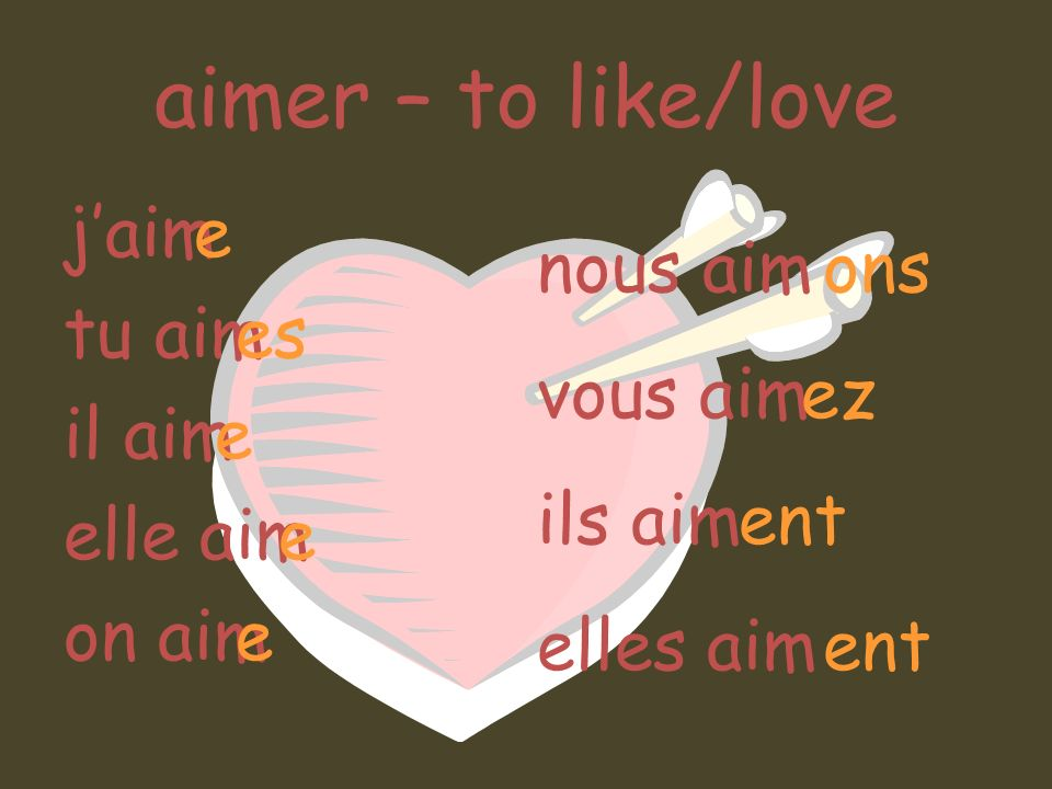 aimer – to like/love j'aim tu aim il aim elle aim on aim e es nous aim