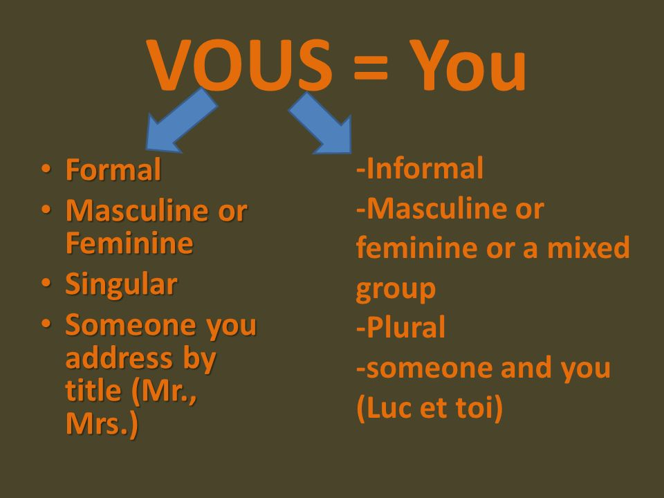 VOUS = You Formal Masculine or Feminine Singular