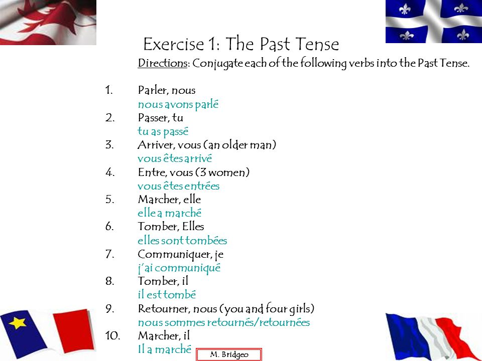 Exercise 1: The Past Tense