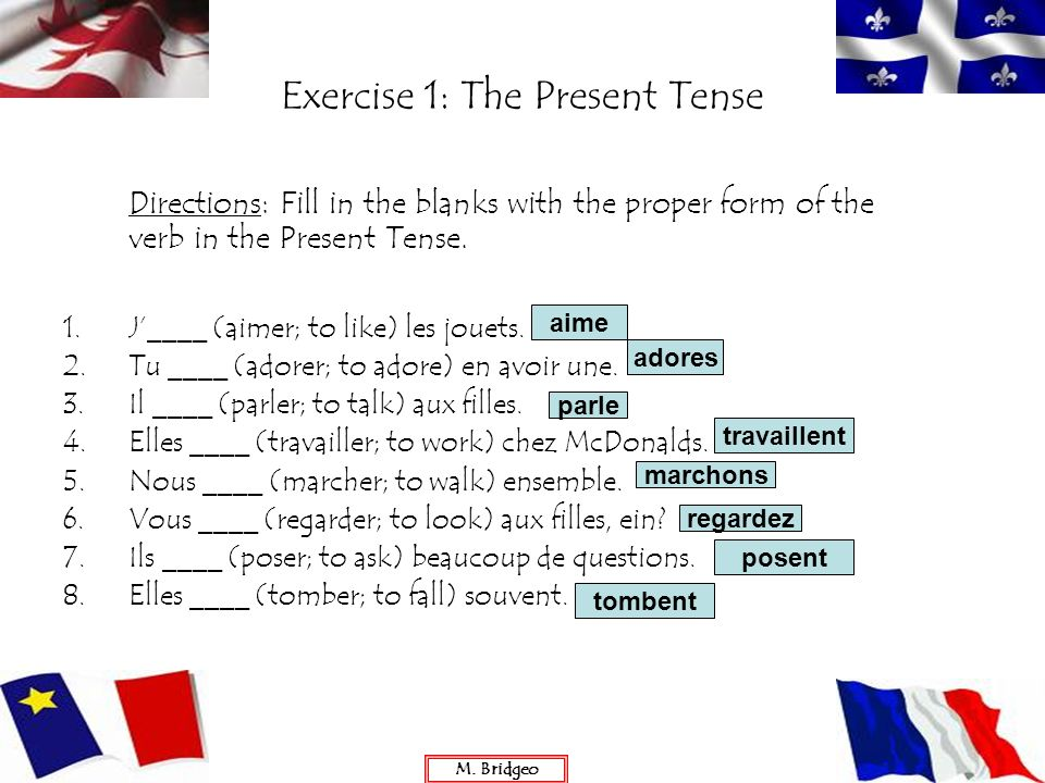 Exercise 1: The Present Tense
