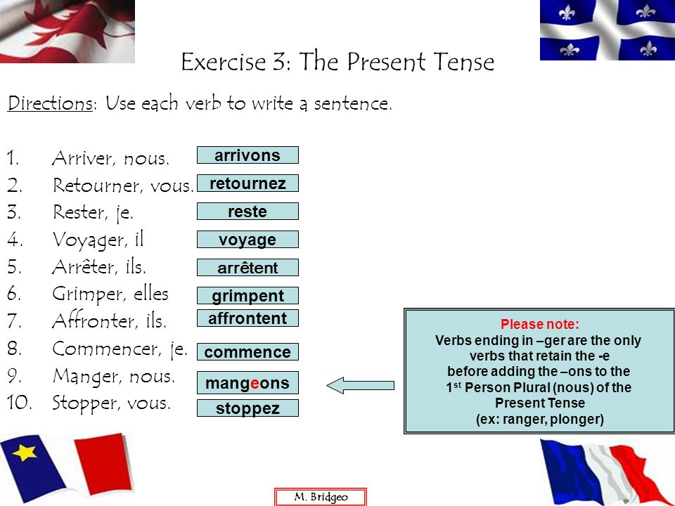 Exercise 3: The Present Tense