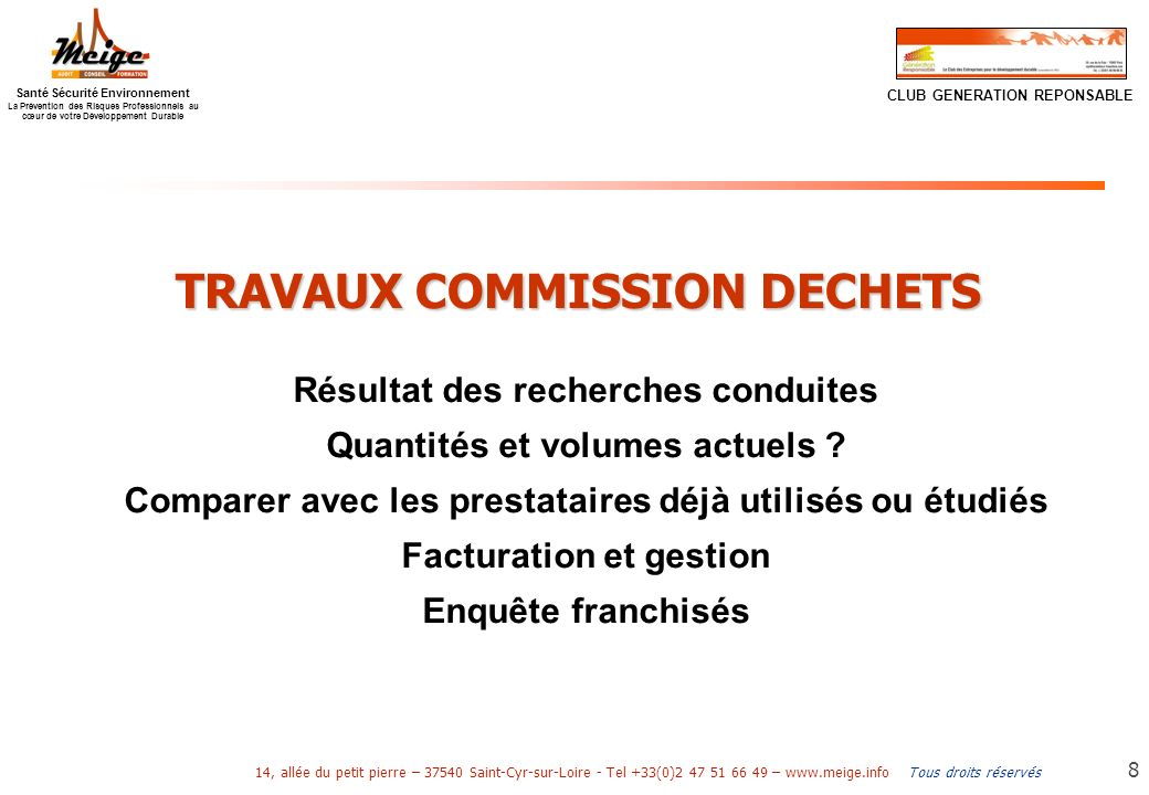 TRAVAUX COMMISSION DECHETS