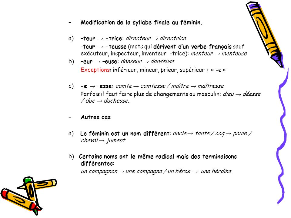 Modification de la syllabe finale au féminin.