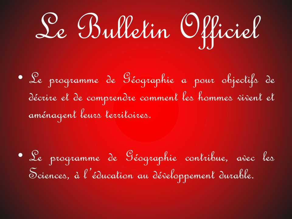 Le Bulletin Officiel