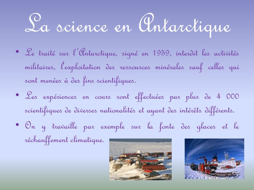 La science en Antarctique