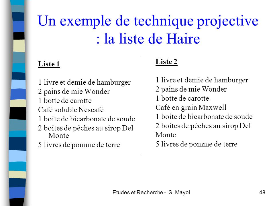 Un exemple de technique projective : la liste de Haire