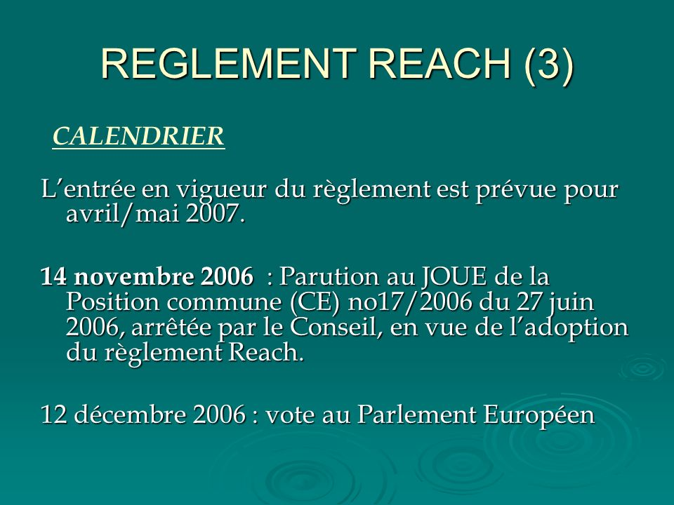 REGLEMENT REACH (3) CALENDRIER