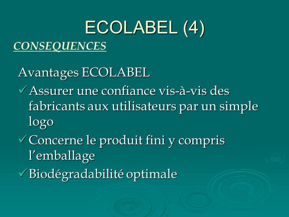 ECOLABEL (4) Avantages ECOLABEL