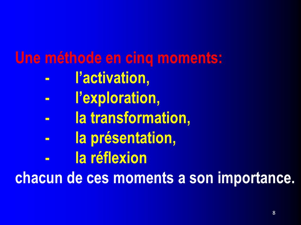 Une méthode en cinq moments:. -. l'activation,. -. l'exploration,. -