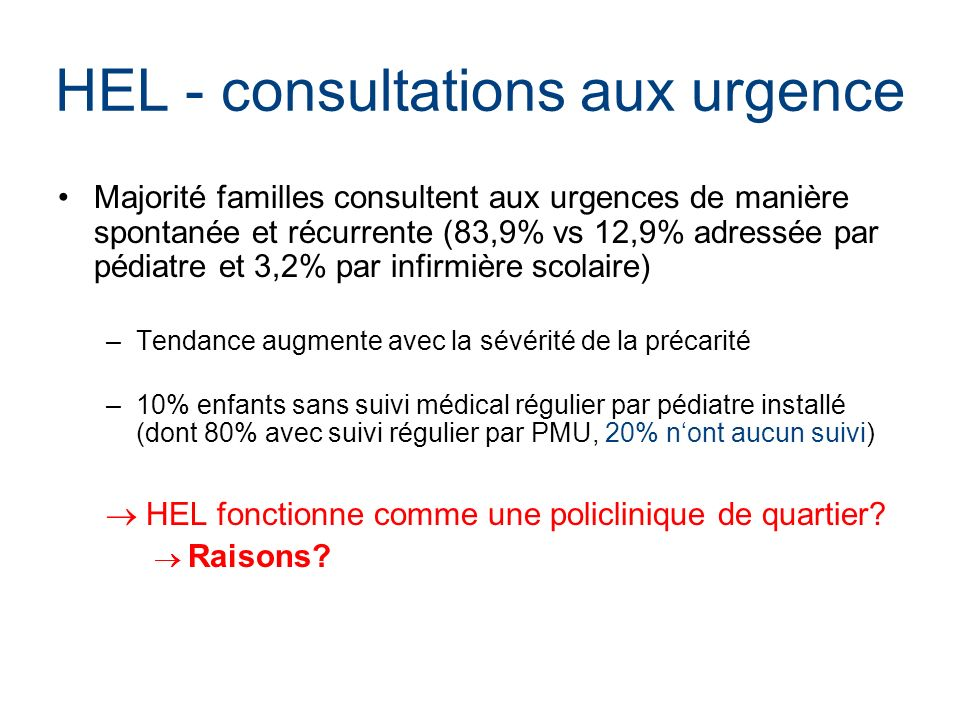 HEL - consultations aux urgence