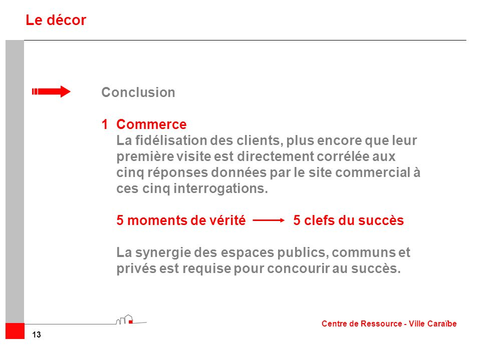 Le décor Conclusion 1 Commerce