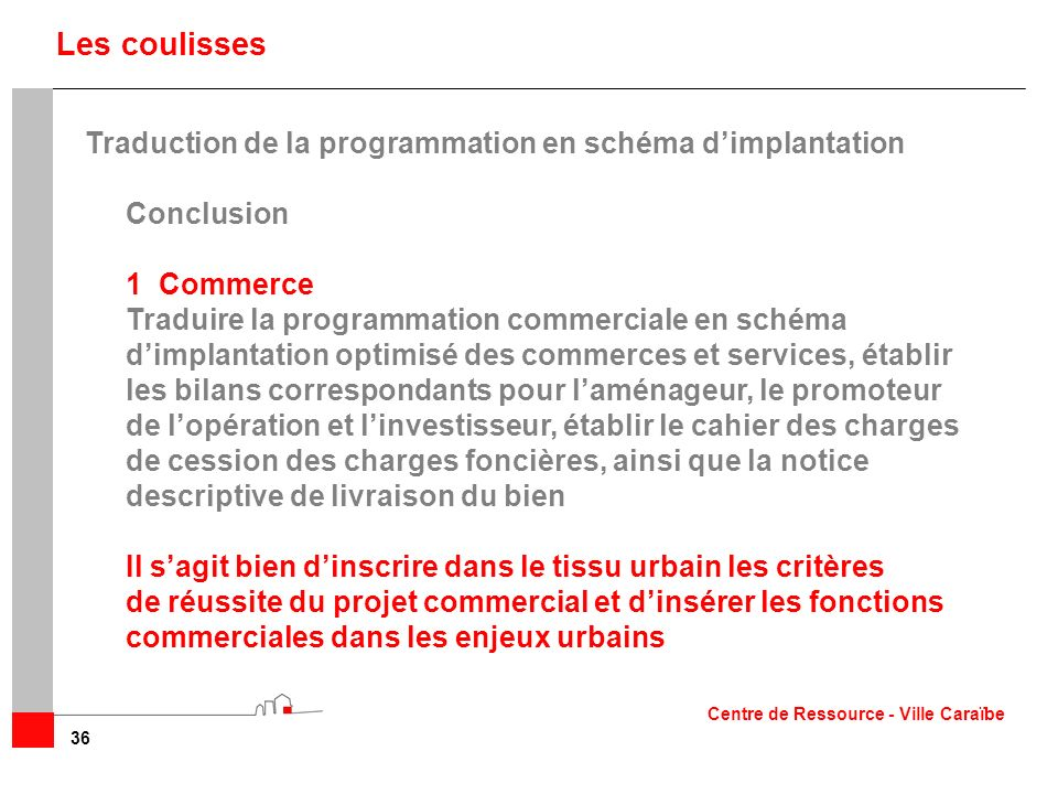 Les coulisses Traduction de la programmation en schéma d'implantation
