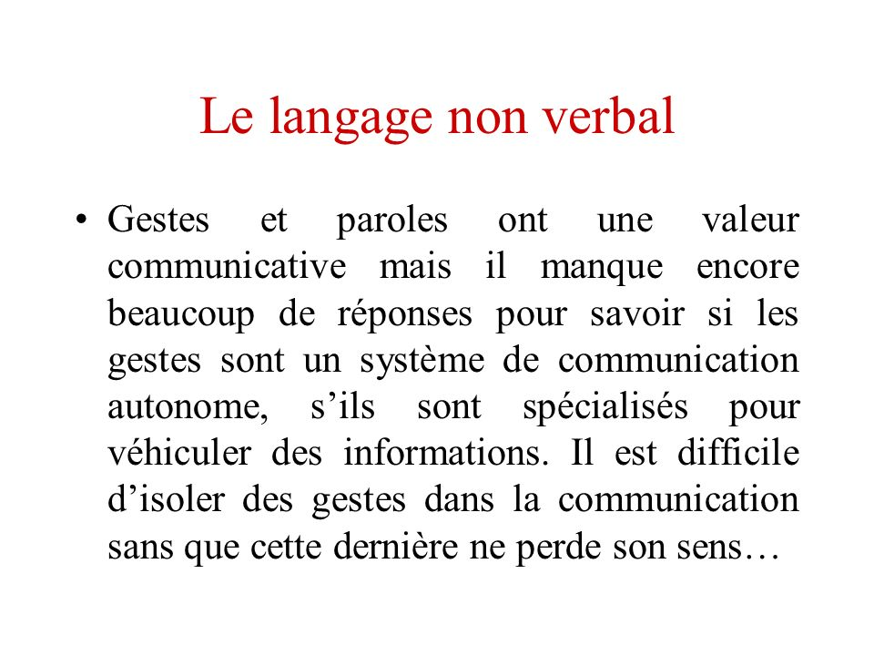 Le langage non verbal
