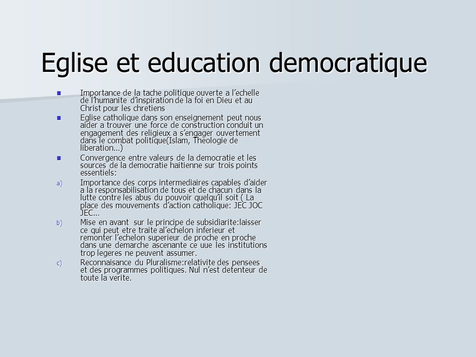 Eglise et education democratique