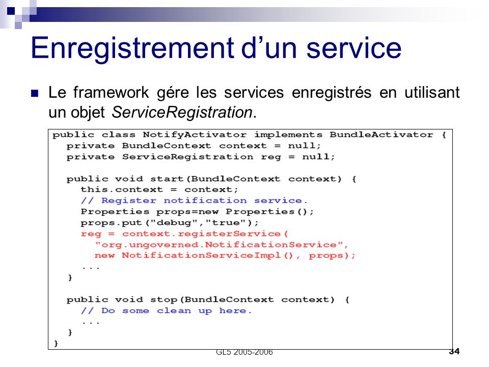 Enregistrement d'un service