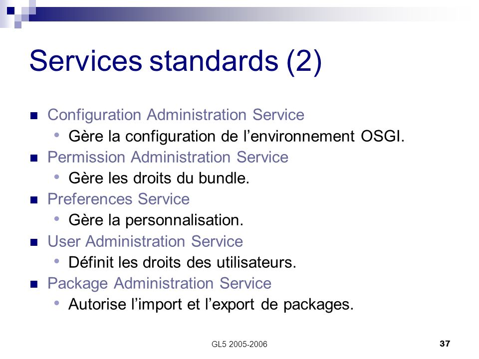 Services standards (2) Configuration Administration Service