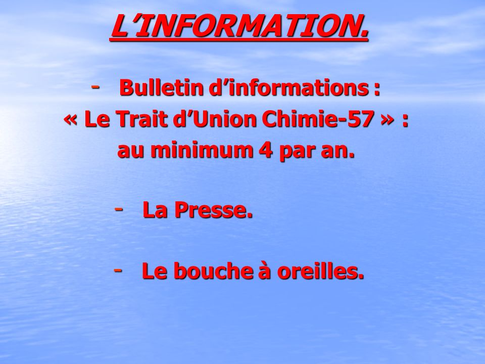 Bulletin d'informations : « Le Trait d'Union Chimie-57 » :