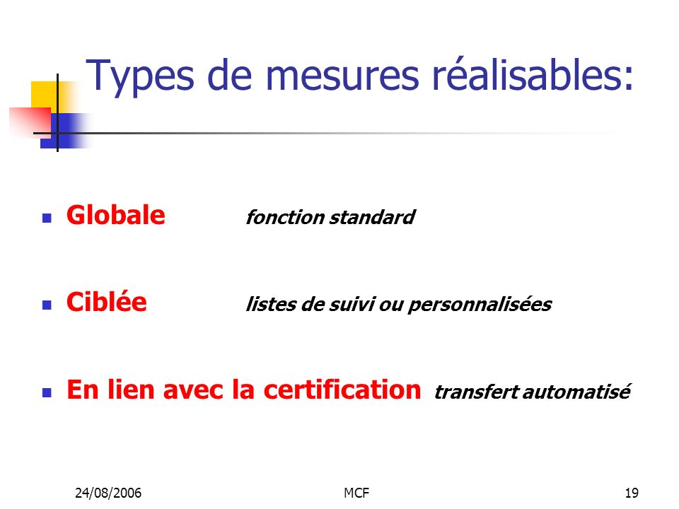 Types de mesures réalisables: