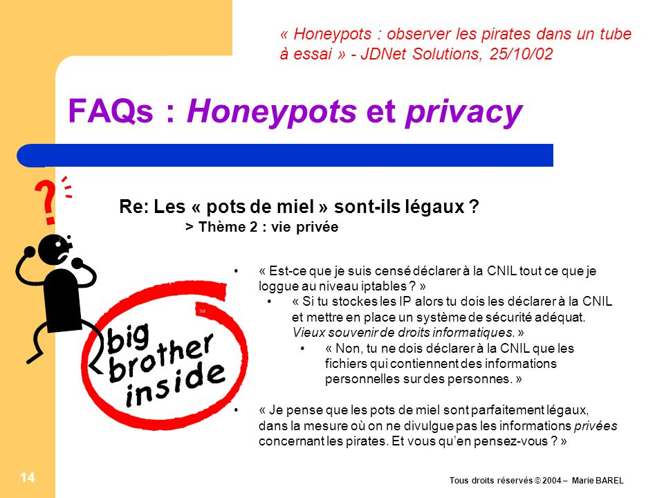 FAQs : Honeypots et privacy