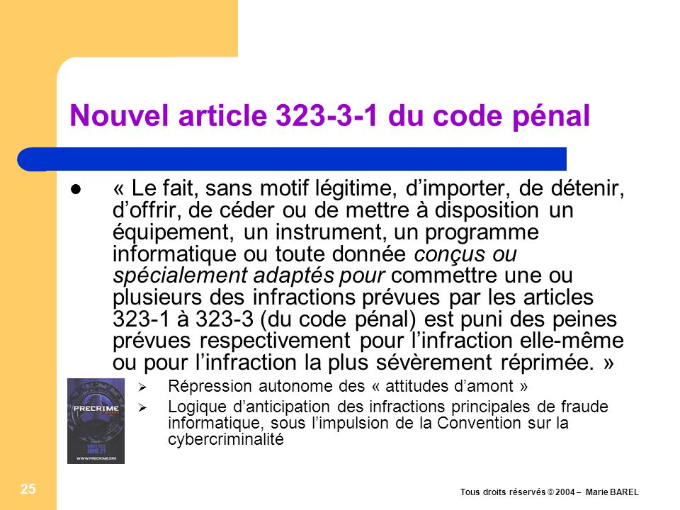 Nouvel article du code pénal