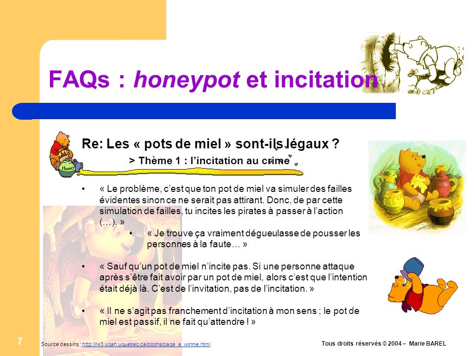 FAQs : honeypot et incitation