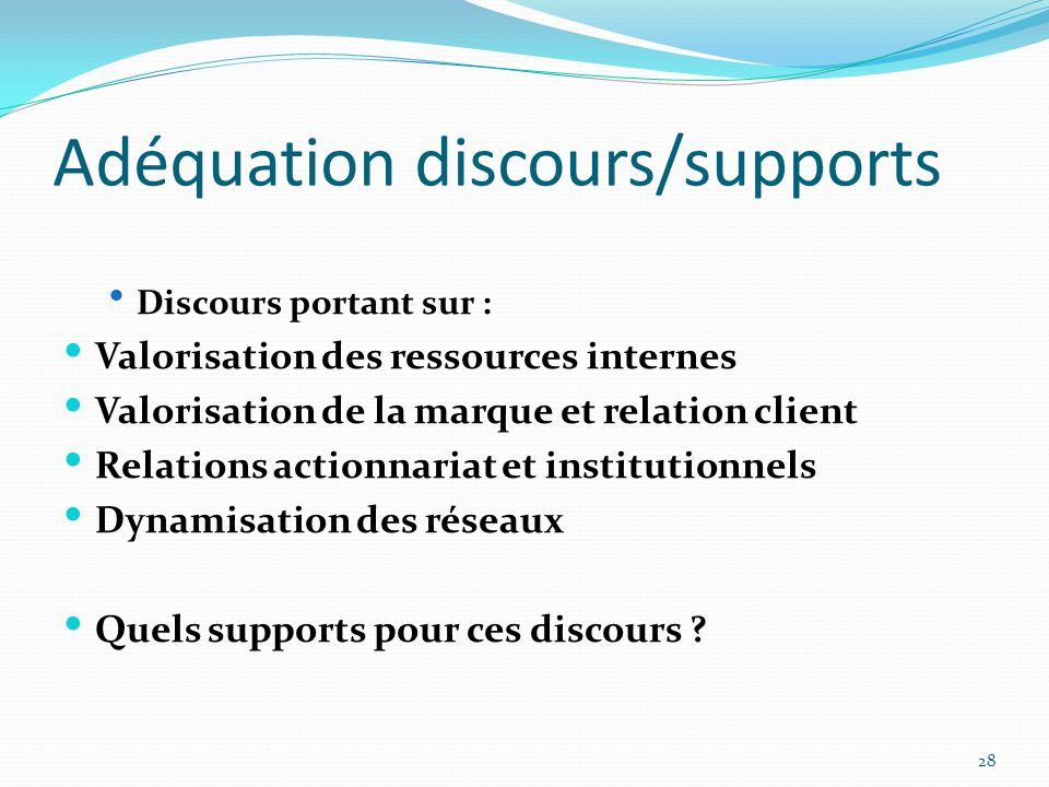 Adéquation discours/supports