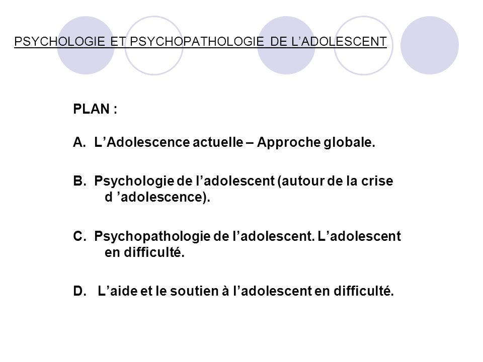 PSYCHOLOGIE ET PSYCHOPATHOLOGIE DE L'ADOLESCENT