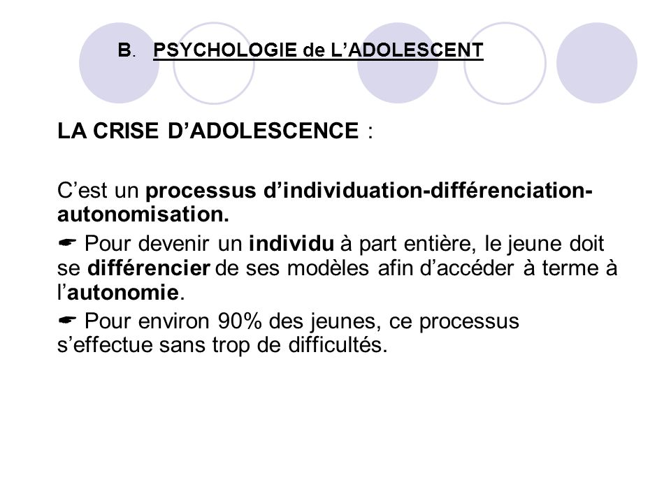 B. PSYCHOLOGIE de L'ADOLESCENT